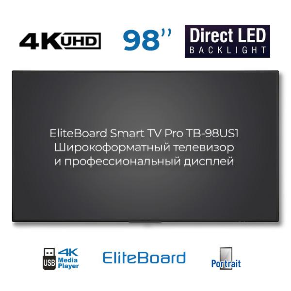 EliteBoard TB-98US1: диагональ 98'', 4K, LED подсветка, portrait mode